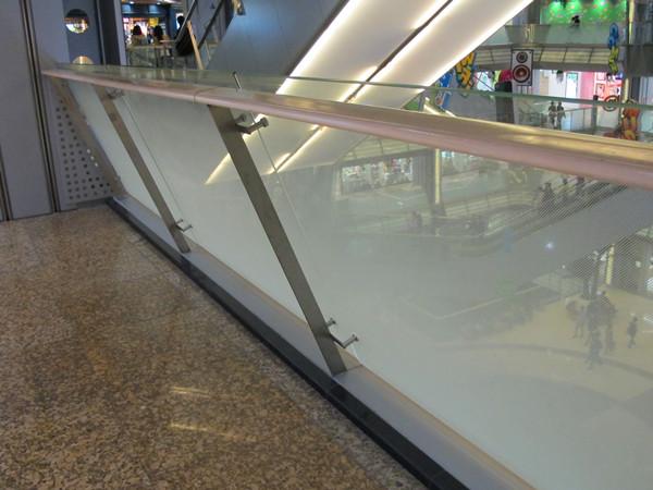 glass balustrade in shopping mall