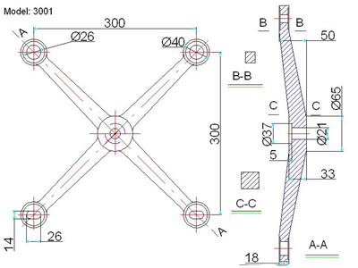 four way spider fitting drawing
