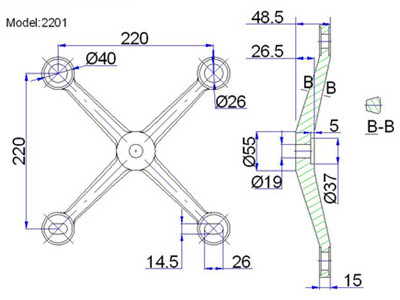 4 point spider fittings drawing