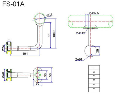 glass handrail bracket drawing