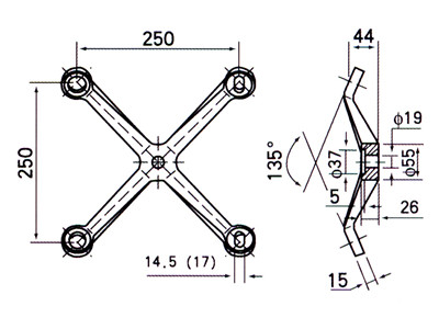 adjustable spider fitting drawing