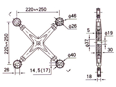 spider fitting size drawing