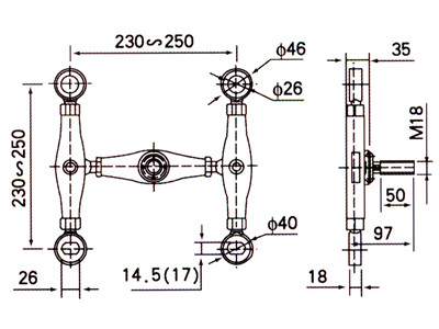 glass spider fitting section drawing