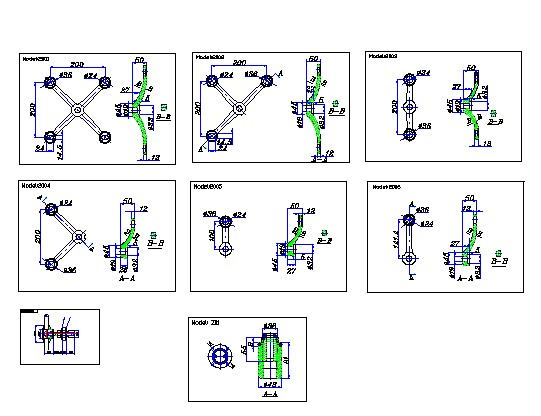 Spider Fittings 200mm Autocad Drawings