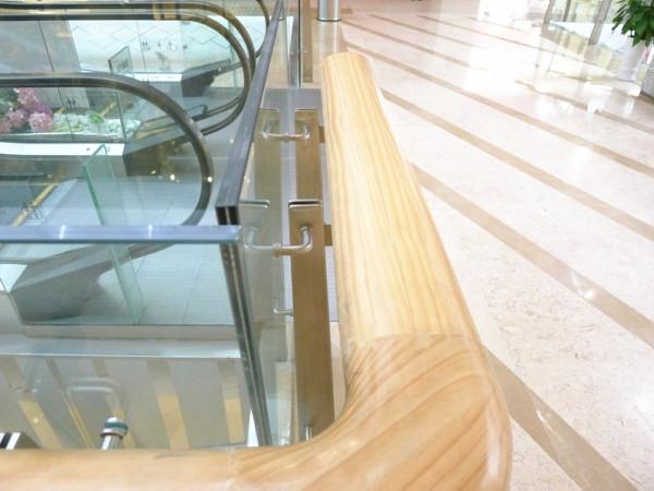 glass railing wood handle