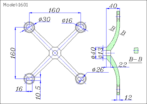160 spider fittings drawing