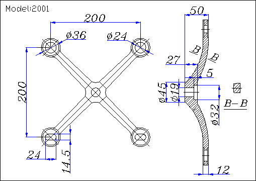 4-point spider fitting drawing