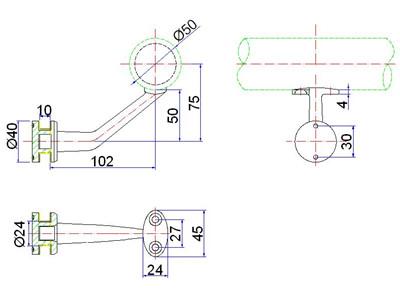 pipe handrail brackets drawing