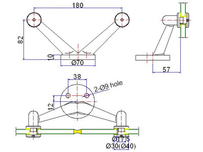 stainless handrail bracket drawing