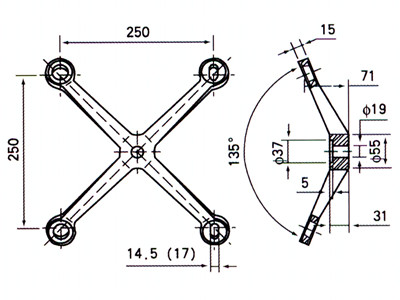 glass spider fitting details drawing